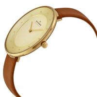 Skagen SKW2138 Gitte Gold Dial Brown Leather Womens Watch
