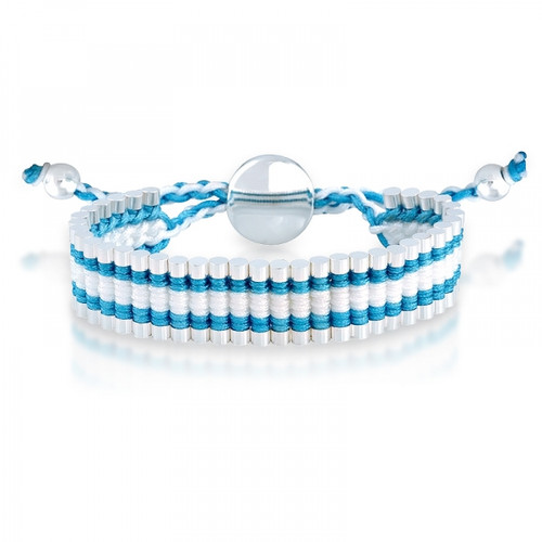 London Links Blue And White Cord Adjustable Friendship Bracelet