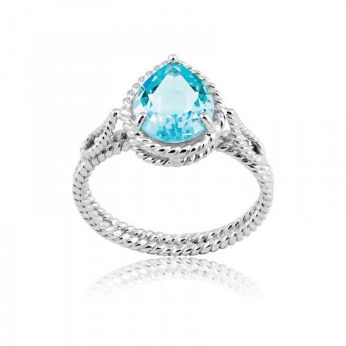 Sterling Silver 925 Pear Shaped Blue Topaz Gemstone Ring