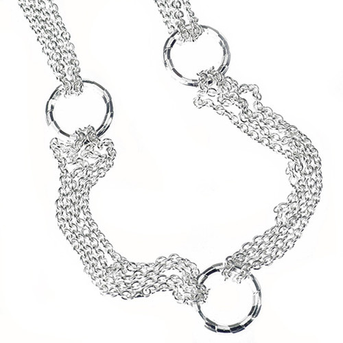 Sterling Silver 925 Multi Strand Rolo Chain Circle Necklace