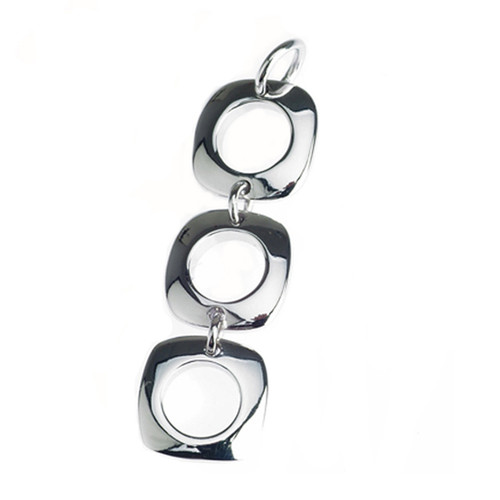 Sterling Silver 925 Open Circle Square Link Drop Pendant
