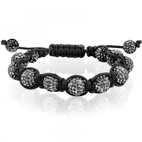 10mm Dark Gray Crystal Beads on a Black Macrame Adjustable Bracelet