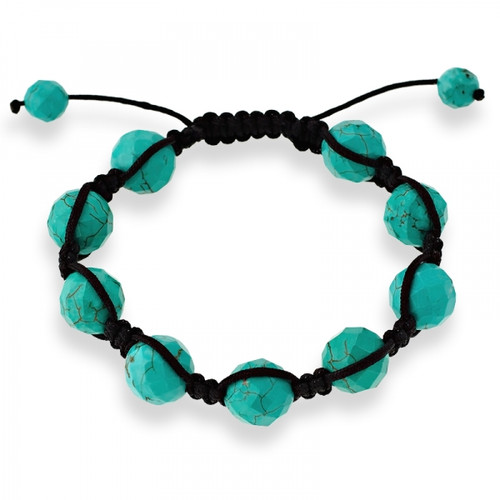 12mm Faceted Turquoise Beads on a Black Macrame Adjustable Bracelet