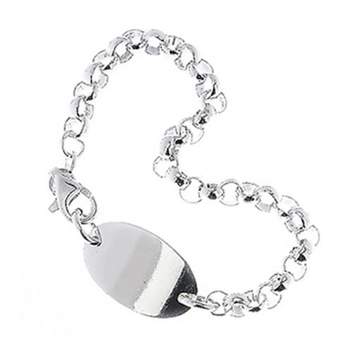 """Sterling Silver 925 Kids Oval Plate Id Link Bracelet 6"""""""