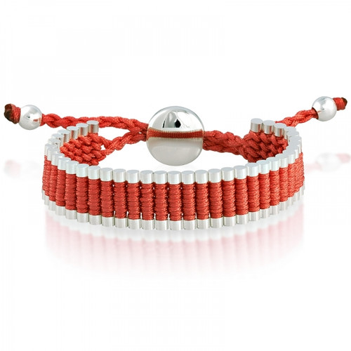 Silvertone Cylinders on a Red Adjustable Friendship Bracelet