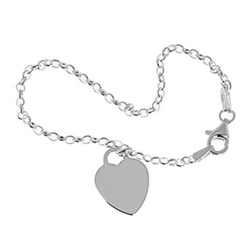 Sterling Silver 925 Kids Heart Charm Link Bracelet