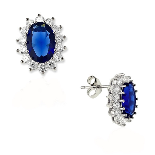 Sterling Silver 925 Oval Blue and White CZ Earrings