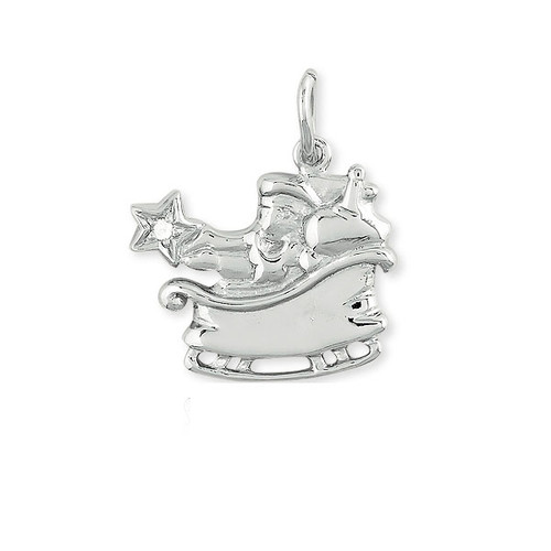 Sterling Silver 925 Holiday Christmas Santa In Sled Charm