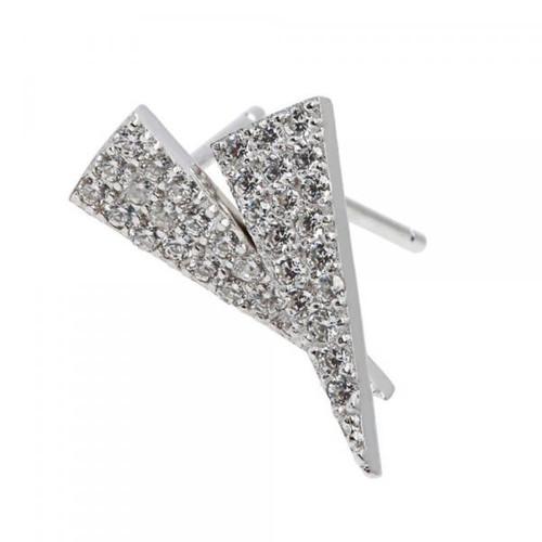 Sterling Silver 925 Triangle CZ Earrings