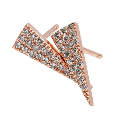 Sterling Silver 925 Rose Gold Plated Triangle CZ  Earrings