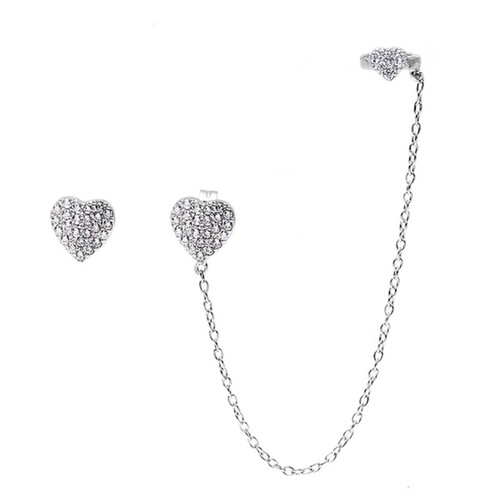 Sterling Silver 925 Micro Pave CZ Heart Stud and Cuff Earrings