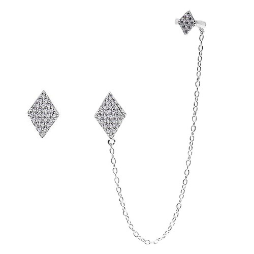 Sterling Silver 925 Micro Pave CZ Diamond Shaped Stud and Cuff Earrings