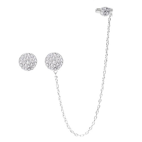 Sterling Silver 925 Micro Pave CZ Circle Stud and Cuff Earrings