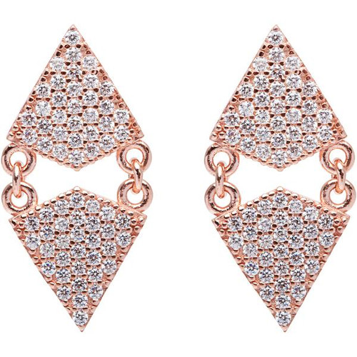 Sterling Silver 925 Rose Gold Plated Opposite Triangle CZ Earrings