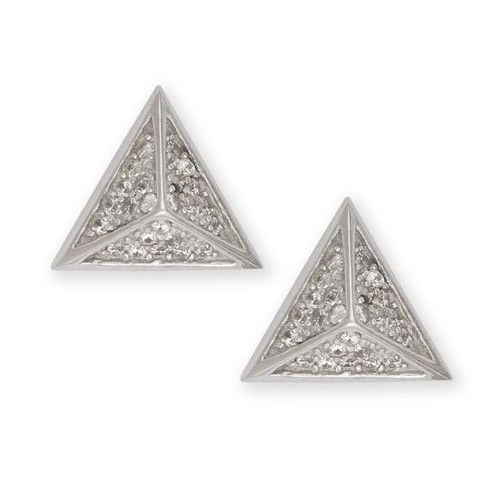 Sterling Silver 925 Pyramid Triangle CZ Earrings