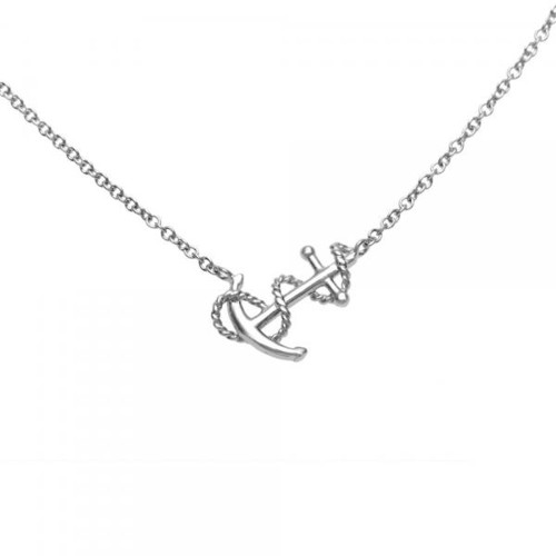 Sterling Silver 925 Anchor and Rope Adjustable Necklace