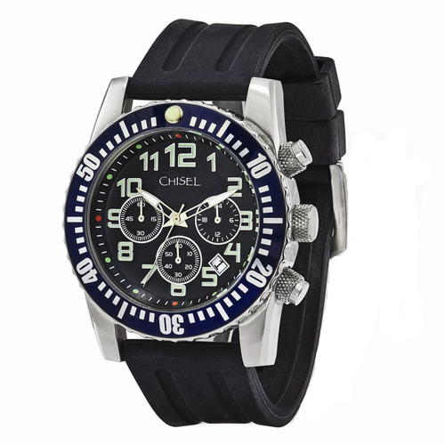 Chisel Chronograph Quartz with Date Black Dial Silicone Mens Watch TPW110