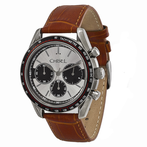 Chisel Chronograph Tachymeter Quartz Brown Leather Mens Watch TPW104
