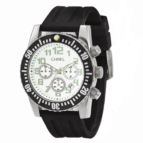 Chisel Chronograph Quartz with Date White Dial Silicone Mens Watch TPW108