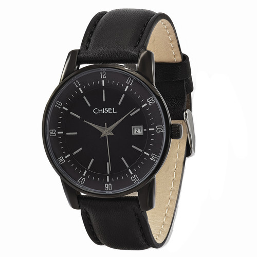 Chisel Quartz with Date Black Leather Mens Watch TPW99