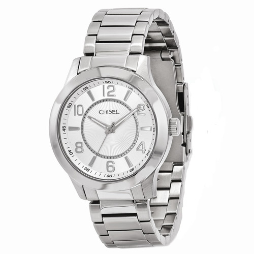 Chisel Quartz Silvertone Stainless Steel Mens Watch TPW89
