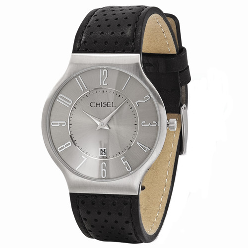 Chisel Quartz with Date Gray Dial Black Leather Mens Watch TPW102