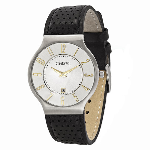 Chisel Quartz with Date White Dial Black Leather Mens Watch TPW103