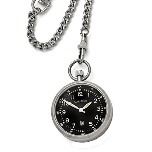 Chisel Black Dial with Date Quartz Mens Pocket Watch
