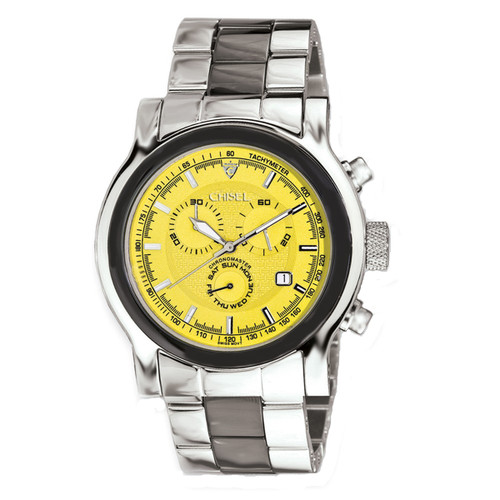 Chisel Chronograph Tachymeter Swiss Quartz Date Stainless Steel Ceramic Mens Watch TPW69
