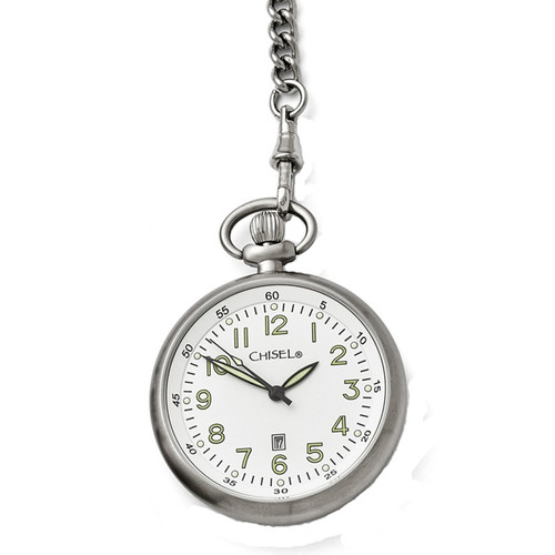 Chisel White Dial with Date Quartz  Mens  Pocket Watch TPW87
