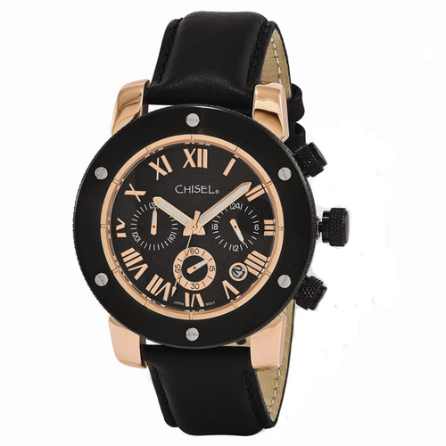 Chisel Black Dial with Date Quartz Chronograph Leather Mens Watch TPW119