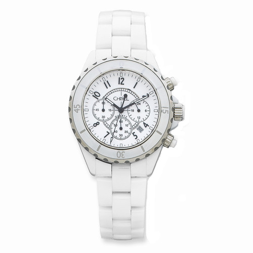 Chisel White Dial with Date Chronograph Quartz Ceramic Mens Watch TPW6