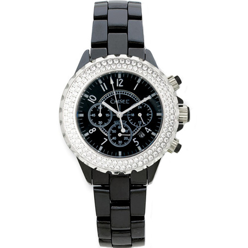 Chisel Black Dial CZ Bezel Chronograph with Date Ceramic Mens Watch TPW17