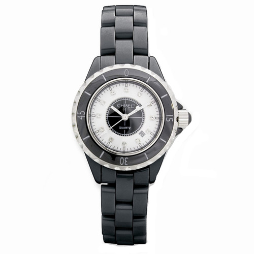 Chisel CZ White Dial Swiss Quartz with Date Black Ceramic Womens  TPW20