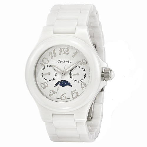 Chisel Moon Phase Quartz White Ceramic Womens Watch TPW117