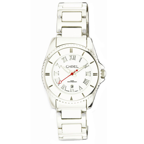 Chisel White Dial with Date Swiss Quartz Ceramic Womens Watch TPW59