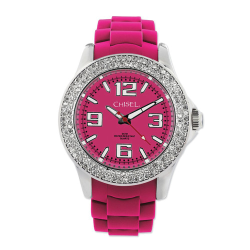 Chisel Dark Pink Dial with Crystal Bezel Silicone Womens  TPW85