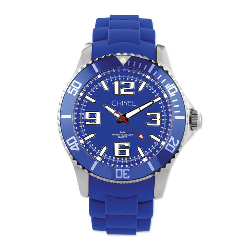 Chisel Blue Dial with Unidirectional Bezel Silicone Mens Watch TPW82