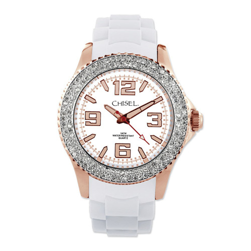 Chisel White Dial with Crystal Bezel Silicone Womens Watch TPW83