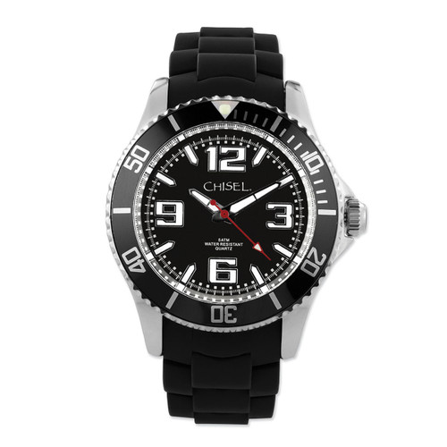 Chisel Black Dial with Unidirectional Bezel Silicone Mens Watch TPW81