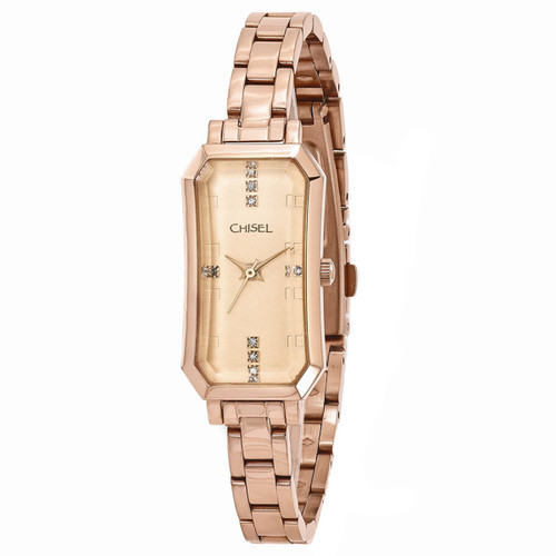 Chisel Rosetone with Swarovski Crystals Stainless Steel Womens Watch TPW97