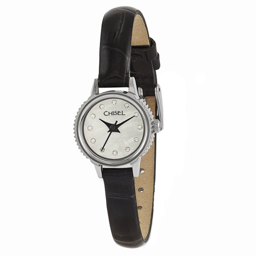 Chisel MOP with Swarovski Crystals Black Leather Womens Watch TPW92