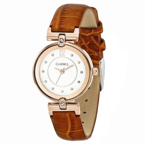 Chisel Rosetone with Swarovski Crystals Brown Leather Womens Watch TPW107