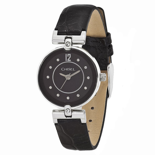 Chisel Black Dial with Swarovski Crystals Leather Womens Watch TPW106