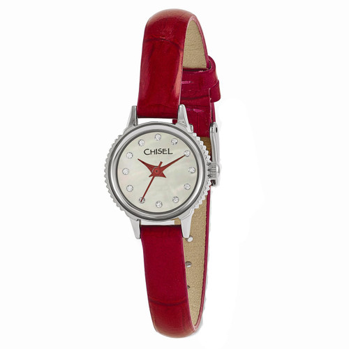 Chisel MOP with Swarovski Crystals Red Leather Womens Watch TPW93