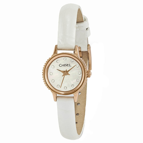 Chisel MOP with Swarovski Crystals White Leather Womens Watch TPW94