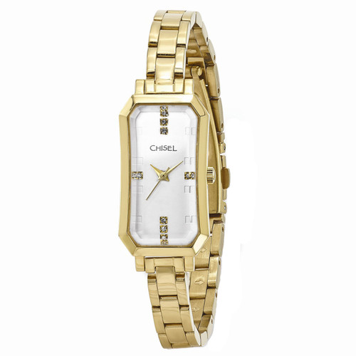 Chisel Goldtone with Swarovski Crystals Stainless Steel Womens Watch TPW96
