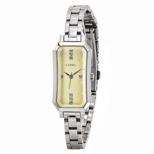 Chisel Champagne Dial with Swarovski Crystals Stainless Steel Womens Watch TPW95