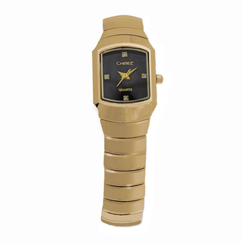 Chisel Black Dial with CZ Swiss Quartz Goldtone Tungsten Womens Watch TPW31