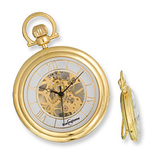 Swingtime Goldtone Brass with Stand Mechanical Open Face Pocket Watch XWA2780
